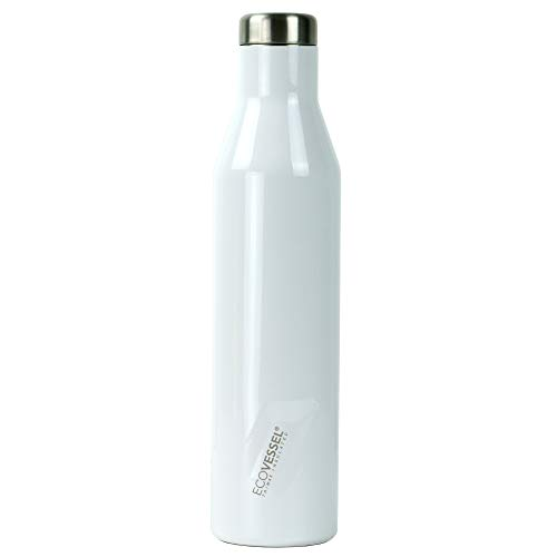 EcoVessel Aspen - TriMax Triple Vacuum Insulated Stainless Steel BPA Free Water & Wine Bottle - Cold for 100 Hours (White Pearl)