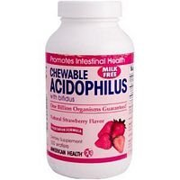 4 Pack of American Health Acidophilus and Bifidum - Strawberry - 100 Chewable Wafers - - - ()