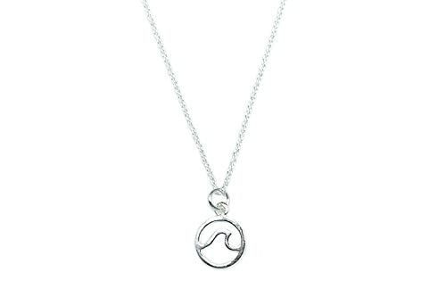 Pura Vida Silver Wave Necklace - .925 Sterling Silver, Summer-Themed - 18