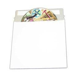 6 3/8 x 6 Inch White Cardboard CD/DVD Mailer + Flap and Seal 50PK Case Mailer Rigid Paperboard Dvd