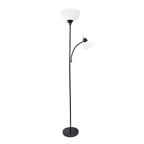 Black Floor Lamp - Simple Designs Home LF2000-BLK Mother-Daughter Floor Lamp with Reading Light, 71.5
