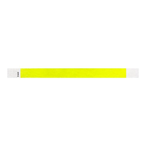 "WristCo Neon Yellow 3/4"" Tyvek Wristbands - 500 Pack Paper Wristbands For Events"