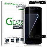 Galaxy S7 Edge Screen Protector Glass, amFilm Full Cover (3D Curved) Tempered Glass Screen Protector with Dot Matix for Samsung Galaxy S7 Edge (1 Pack, Black)