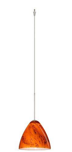 Bronze Habanero Mini Pendant - Besa Lighting XP-1779HB-SN Mia Collection 1-Light Mini-Pendant Element with Quick-Connect Jack, Satin Nickel Finish with Habanero Art Glass Shade