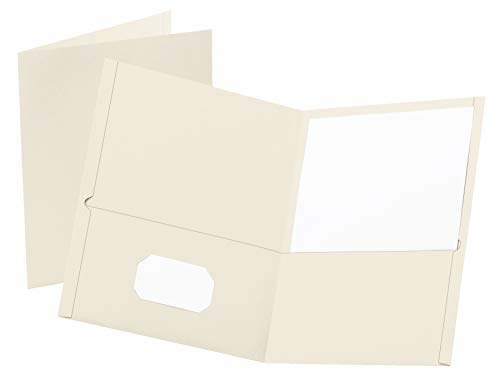 Oxford Two-Pocket Folders, White, Letter Size, 10 per Pack, (57574EE)