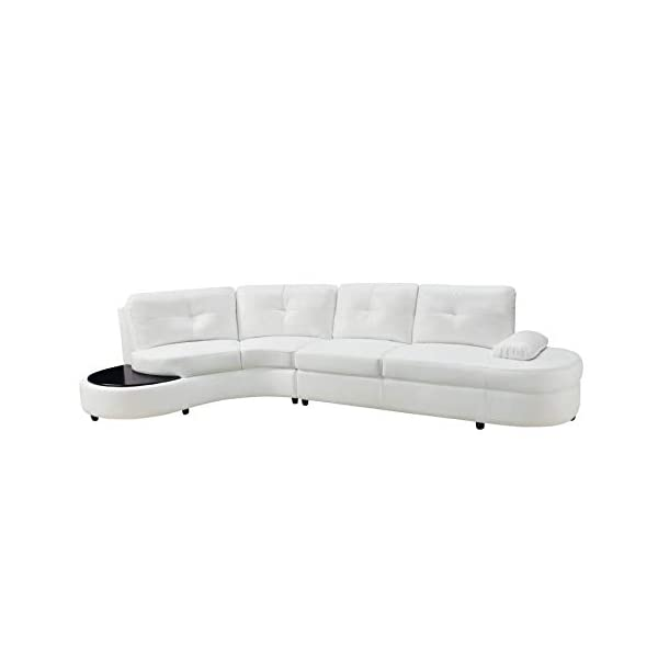 Talia Conversation Sectional Sofa with Built-in Table White