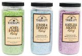 Village Naturals Therapy Mineral Bath Soak Variety Set 3 Pack - Restless Nights, Aches & Pain, Stress & Tension (20oz Jars)