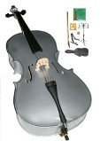 GRACE 4/4 Size Silver Cello with Bag and Bow+Rosin+Extra Set of Strings+Tuner+Cello Stand+Music Stand