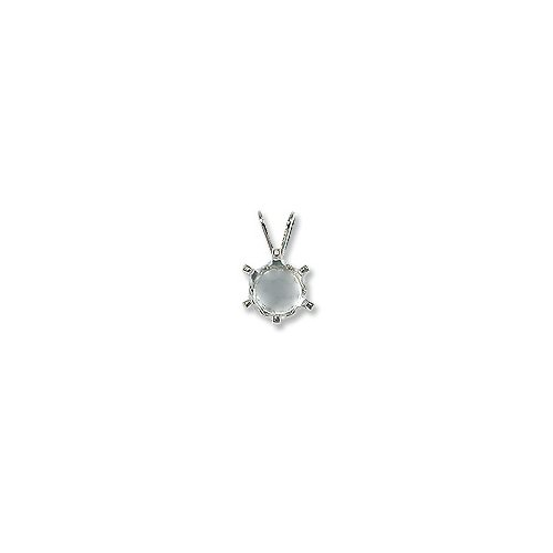 Snap & Set Pendant 8mm Round 6 Prong Sterling Silver (1-Pc) (Pendant Round Mounting)