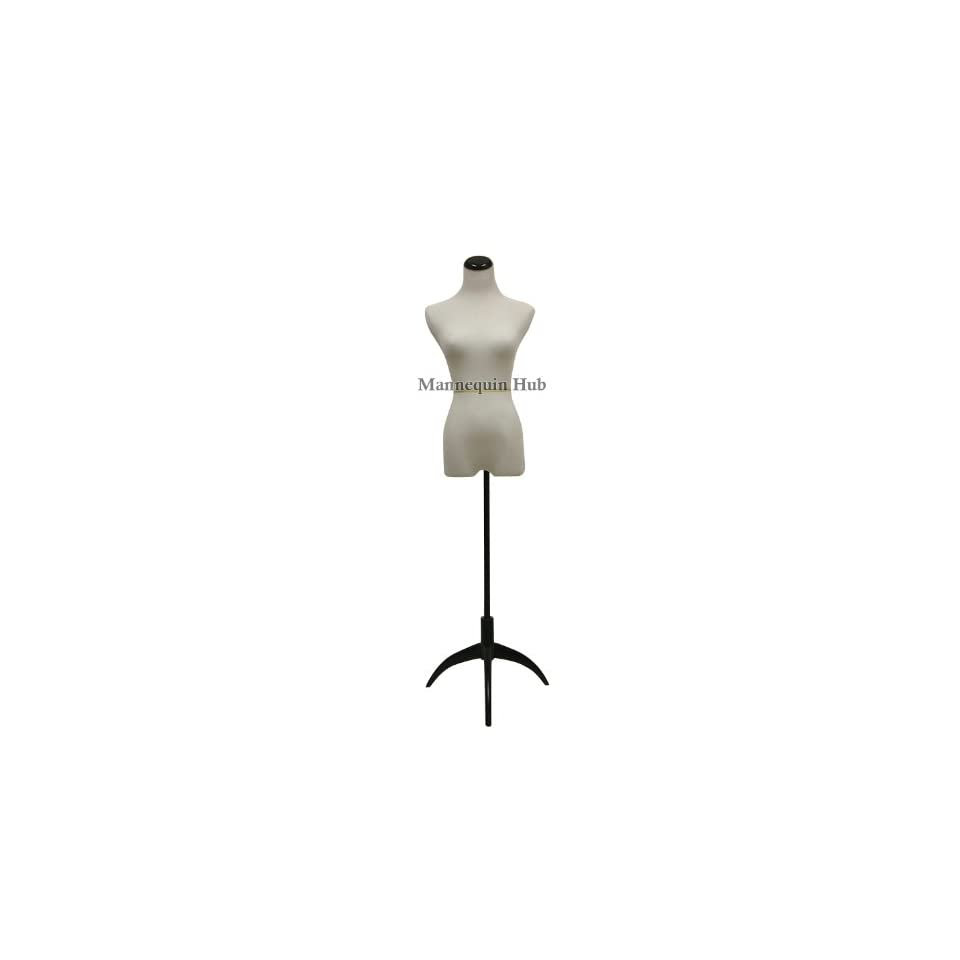 New White Female Dress Form Mannequin Display Form Size Small On Black Steel Tripod Base