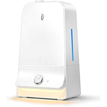 TaoTronics Humidifier for Bedroom Babies, 26dB Ultra Quiet, High Output 6L for Home Large Room, Night Light, Easy to Clean, 6.0L/1.59 gallon-White