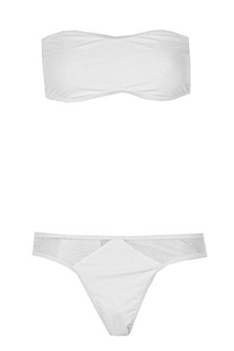 Boohoo Womens Vancouver Mesh High Leg Bandeau Bikini In White Size - Vancouver Swimsuits