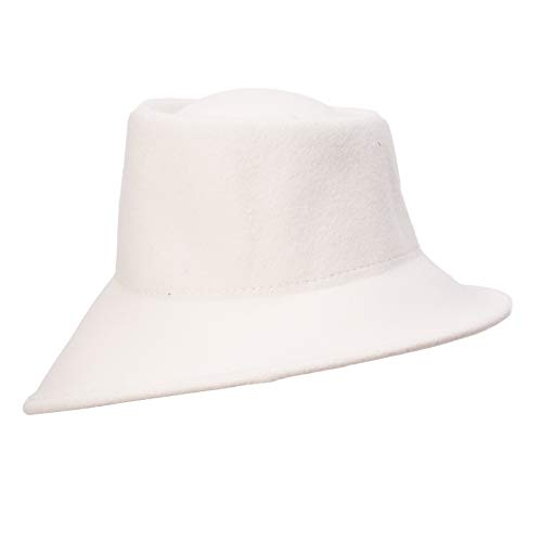 Lawliet Womens 100% Wool Felt Tilt Asymmetrical Brim Wedding Church Fedora Hat T289 (Ivory) ()