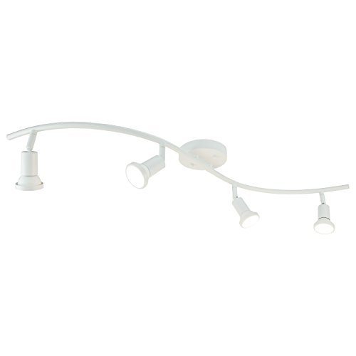 DnD 4-Light Adjustable LED Track Lighting Kit - Curved - GU10 LED Bulbs Included. CE20014-LED-WS (White LED)