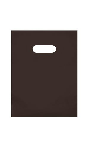 9 x 12 Frosted Extra Thick 2.5 mil Merchandise / Gift Bag with Die-Cut Handles (Pack of 25) (Brown) (Gift Die Cut Bags)