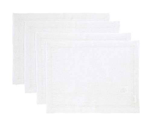 Solino Home Pure Linen Placemats - White, 14 x 19 Inch Set of 4 Athena - 100% Pure Linen Natural Fabric - Handcrafted Machine Washable