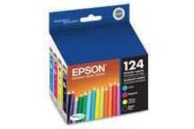 Epson T124 Moderate Capacity Set of 4 OEM Ink Cartridges: 1 of each Black T124120, Cyan T124220, Magenta and Yellow