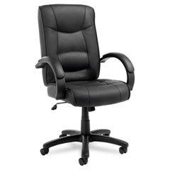 (Strada Series High-Back Swivel/tilt Chair, Black Top-Grain Leather Upholstery By: Alera)