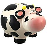 Ceramic Black and White Milk Cow Coin Bank Money Change
