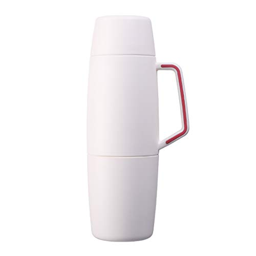FACE Beverage Bottle Vacuum Insulated Stainless Steel Jug Large Capacity Thermos Water Bottle with Portable Handle, 34 -Ounce, White