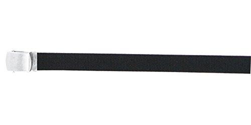 Cotton Canvas Military Web Belts, Black/Silver Buckle