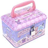 Ellon Little Twin Stars Tin Coin Money Bank Storage Box with Lock & Handle ()