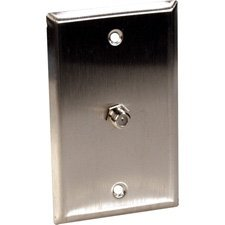 (1-Gang Stainless Steel Wall Plate with 1 Coax F Connector Feed-Thru-by-TecNec)