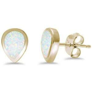 - Pear Yellow Gold Plated Tear Shape White Opal 925 Sterling Silver Earrings - Jewelry Accessories Key Chain Bracelet Necklace Pendants