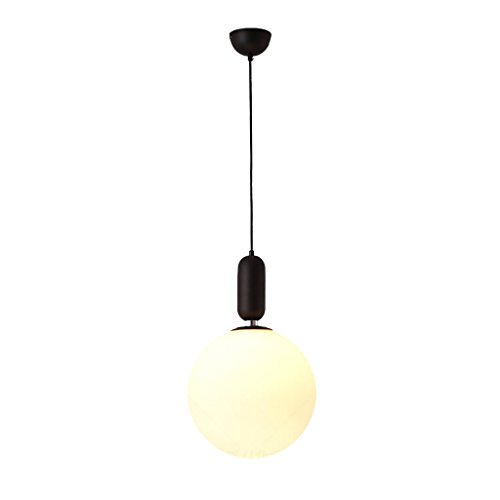 Lamps Modern Suspension (Wsxxn New Modern LED Pendant Lights E27 Round White Glass Dining Light Glass Lampshade Hanging Lamp Iron Suspension Lighting Fixture (Color : Black, Size : 30cm))