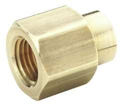 "Parker Hannifin 208P-6-4 Brass Reducer Coupling Pipe Fitting, 3/8"" Female Thread x 1/4"" Female Thread"