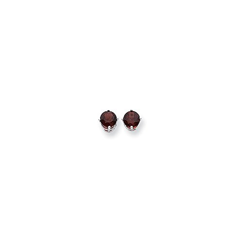Perfect Jewelry Gift 14k White Gold 6mm Garnet Earrings