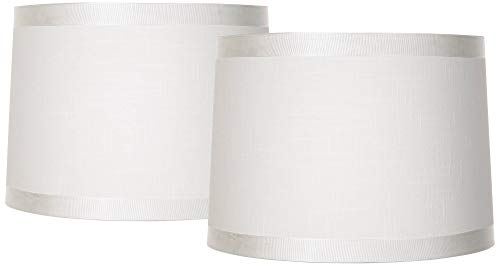 White Fabric Set of 2 Drum Lamp Shades 13x14x10 (Spider) - Brentwood (Lamp Drum Shades)