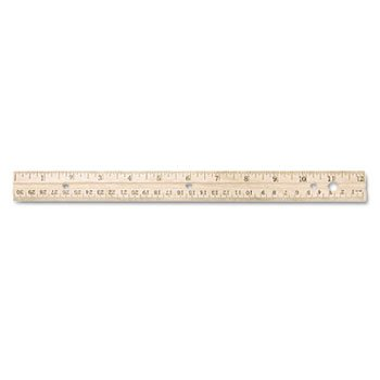 Westcott Hole Punched Wood Ruler English and Metric with Metal Edge, 12