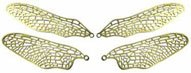 Stained Glass Supplies - Dragonfly Brass Finish Wing Filigree, one set/4