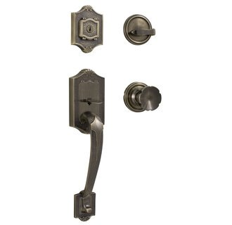 Weslock 2175/2100-I-A Antique Brass Colonial Single Cylinder Handleset Impresa Knob