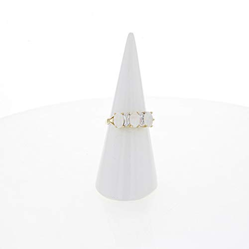 Yellow gold trilogy vintage style opal ring with -