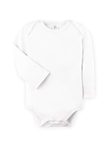 Colored Organics Unisex Baby Organic Cotton Bodysuit - Long Sleeve Infant Onesie - White - 3-6M