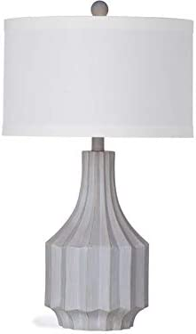 Bassett Mirror L3130T Cowan Table Lamp44 Cement with Gold – 15 x 15 x 26 in.