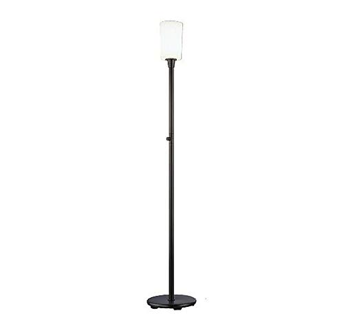 Patina Torchiere - Robert Abbey Z2068 Lamps with Frosted White Cased Glass Shades, Deep Patina Bronze Finish