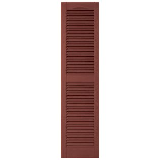 Burgundy Red Louvered Shutter - 12 in. x 67 in. Louvered Vinyl Exterior Shutters Pair in #027 Burgundy Red