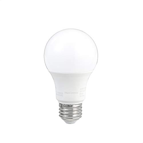 AmazonCommercial 40 Watt Equivalent, 10000 Hours, Non-Dimmable, 450 Lumens, E26 Base, A19 LED Light Bulb - Pack of 25, Daylight