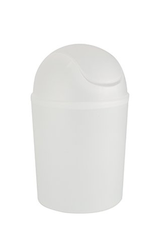 WENKO 15199100 Schwingdeckeleimer Arktis Weiß, Fassungsvermögen 4.5 L, Kunststoff - Polypropylen, 19.5 x 31 x 19.5 cm, Weiß (milchig)