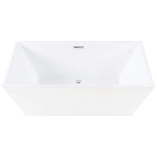 Kingston Brass VTSQ593223 Eden 59-Inch Freestanding Square Acrylic Tub with Drain White