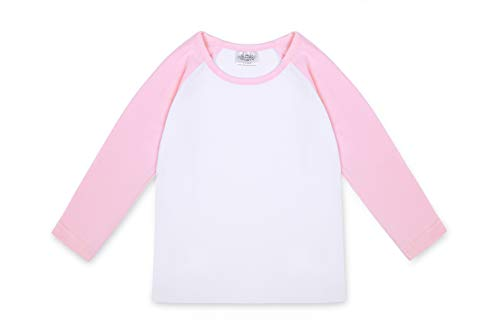 (CloudCreator Toddler Baby Girls Boys Long Sleeve Shirts Raglan Shirt Baseball Tee Cotton T-Shirt Pink)