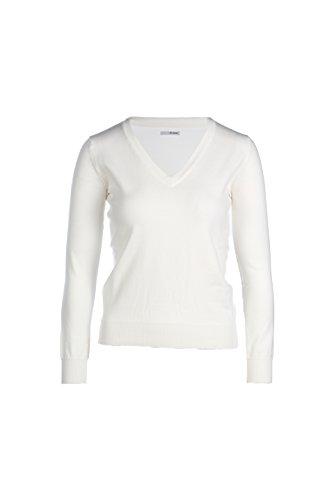 BASIC Femme Stretch Coton Blanc MY en V col Pull en XxwdxqZ