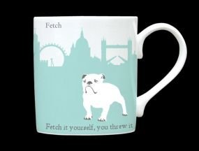 (Silhouette London Skyline Bull Dog Bone China Mug Fetch Fetch It Yourself Stoke On Trent England Turquoise)