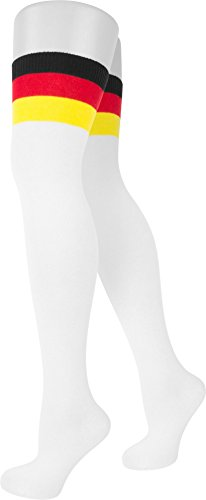 4 Paar Modische Overknees für Teenager und Damen in verschiedenen trendigen Ringelfarben | große Farbauswahl Deutschland/Weiß