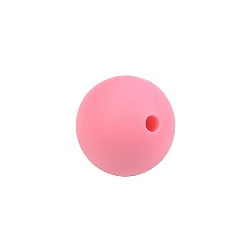 Hebel 20Pcs Round Silicone Teething Beads Jewelry DIY Chewable Necklace Teether | Model NCKLCS - 27388 | Pink-15mm -