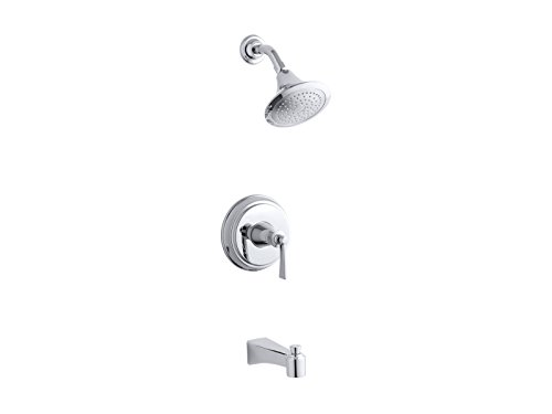 (KOHLER TS11077-4E-CP Archer(R) Rite-Temp(R) bath and shower valve trim with lever handle, spout and 2.0 gpm showerhead, Polished Chrome)