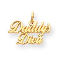 Message «Daddy's Diva 14 carats avec Pendentif Enfant-Chaîne - 10 x 15 cm-JewelryWeb bélière no 18 mm -